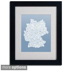 Michael Tompsett 'Steel Germany Region Text Map' Framed Matted Art