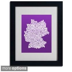 Michael Tompsett 'Purple Germany Region Text Map' Framed Matted Art