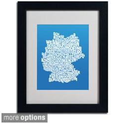 Michael Tompsett 'Summer Germany Region Text Map' Framed Matted Art