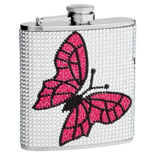 6-Ounce Rhinestone Butterfly Hip Flask