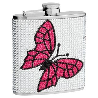 Top Shelf 6-Ounce Rhinestone Butterfly Hip Flask