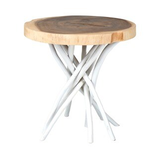 Liberte Round White Base Side Table