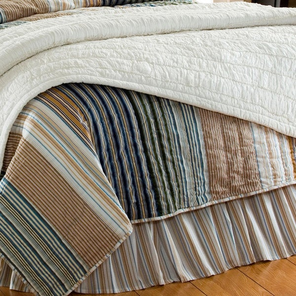 William Striped Blue and Tan Bedskirt