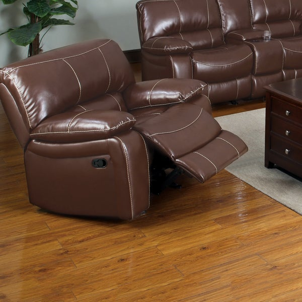 Furniture of America Jojo Classic Brown Bonded Leather Glider Recliner Chair