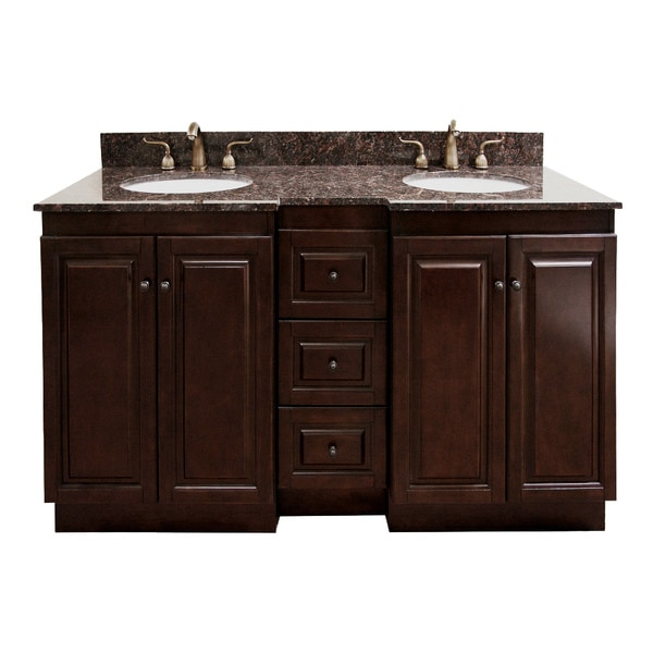 natural granite top 60 inch double sink bathroom vanity in dark walnut