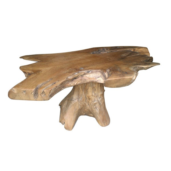 Decorative Tan Rustic Transitional Natura Freeform Coffee Table