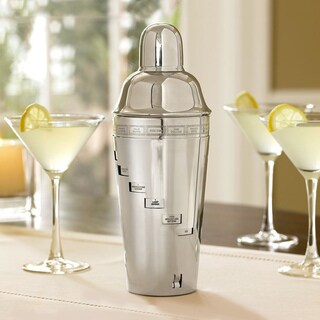 Stainless Steel Cocktail Shaker with Engraved Drink Recipes