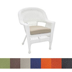 White Wicker Chair/ Cushion (Set of 4)