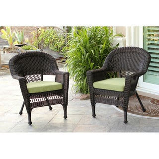 Espresso Wicker Chairs with Cushions (Set of 2)