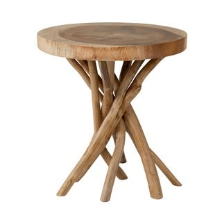 Decorative Brown Rustic Transitional Liberte Round Accent Table