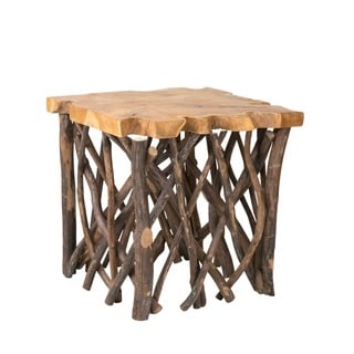 Decorative Brown Rustic Transitional Liberte Square Accent Side Table