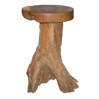 Decorative Brown Rustic Transitional Natura Teakwood Barstool
