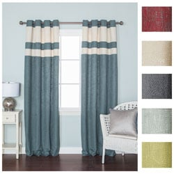 Striped Heavyweight Textured Faux Linen Grommet Top 84-inch Curtain Pair