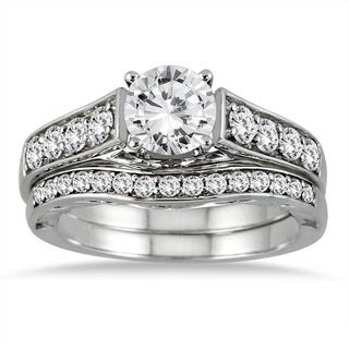 14k White Gold 1 3/4ct TDW White Diamond Bridal Set (I-J, I2-I3)