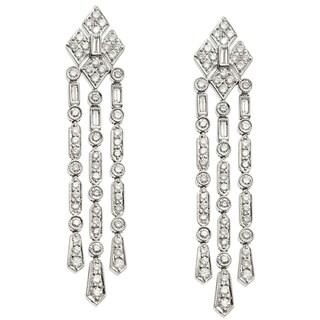 18k White Gold Certified 1 4/5ct TDW Diamond Chandelier Earrings (G-H, SI2-I1)