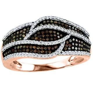 De Couer 10k Rose Gold 5/8ct TDW Cognac and White Diamond Ring (H-I, I2)