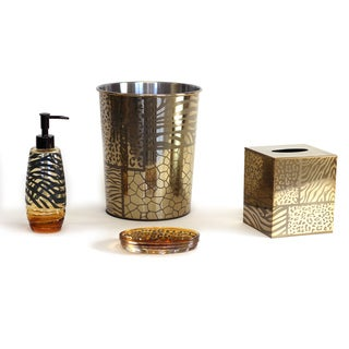 Sherry Kline Safari Brown Gold Bath Accessory 4 Piece Set