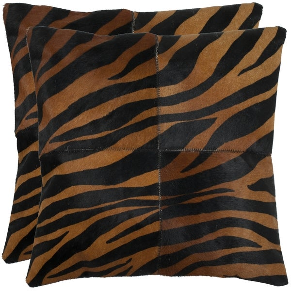Safavieh Cowhide Raquel 18-inch Black/ Brown Feather/ Down Decorative Pillows (Set of 2)