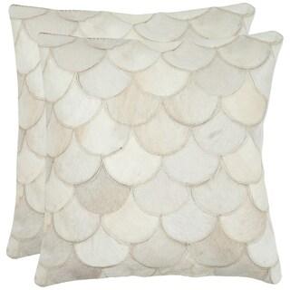 Safavieh Cowhide Elita 22-inch Cream Feather/ Down Decorative Pillows (Set of 2)