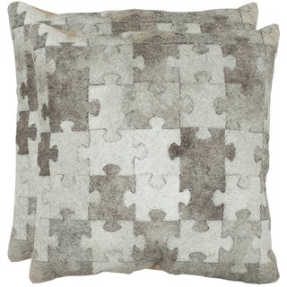 Safavieh Cowhide Mason 18-inch Grey Feather/ Down Decorative Pillows (Set of 2)