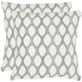 Safavieh Kendell 22-inch Grey Feather/ Down Decorative Pillows (Set of 2)