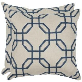 Safavieh Hayden 22-inch Indigo Feather/ Down Decorative Pillows (Set of 2)