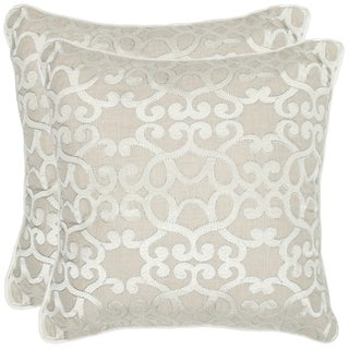 Safavieh Madison 22-inch Silver Feather/ Down Decorative Pillows (Set of 2)