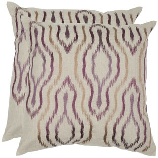 Safavieh Quinn 18-inch Plum Feather/ Down Decorative Pillows (Set of 2)