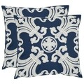 Safavieh Collette 18-inch Navy/ Blue Decorative Pillows (Set of 2)