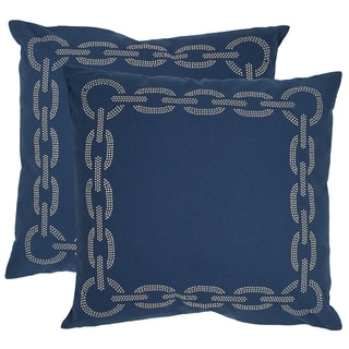 Safavieh Sibine 18-inch Navy/ Blue Decorative Pillows (Set of 2)