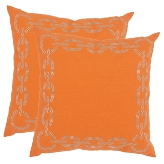 Safavieh Sibine 18-inch Orange Decorative Pillows (Set of 2)