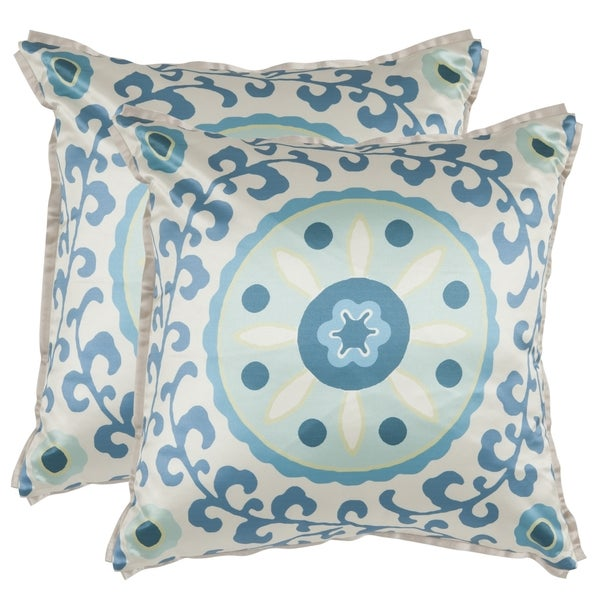 Safavieh Frida 18-inch Blue Decorative Pillows (Set of 2)
