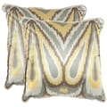 Safavieh Keri 18-inch Yellow Decorative Pillows (Set of 2)