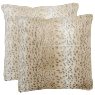 Safavieh Snow Leopard 18-inch Off-White Decorative Pillows (Set of 2)
