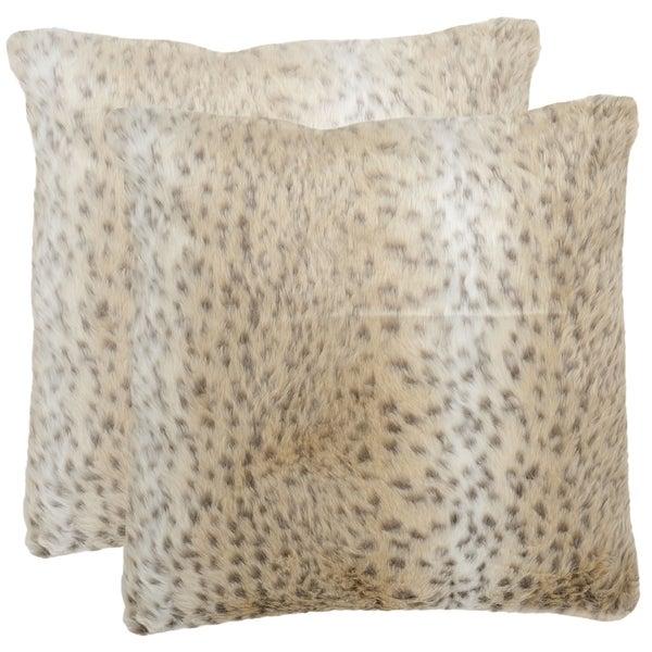 Safavieh Snow Leopard 18-inch Off-White Decorative Pillows (Set of 2)