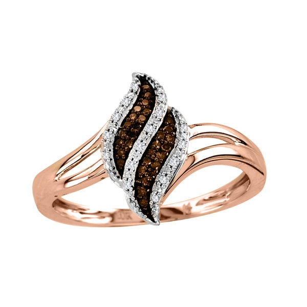De Couer 10k Rose Gold 1/10ct TDW White/ Cognac Diamond Ring (H-I, I2)