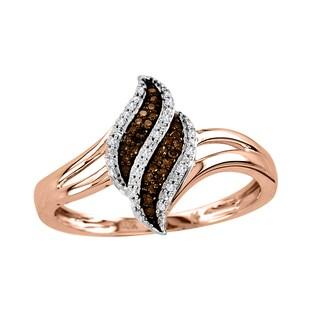De Couer 10k Rose Gold 1/10ct TDW White/ Cognac Diamond Ring (H-I, I2)