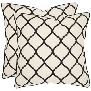 Safavieh Eliza 18-inch Black Feather Decorative Pillows (Set of 2)
