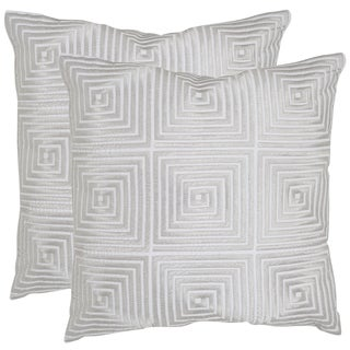Safavieh Lacie 18-inch Silver Feather Decorative Pillows (Set of 2)