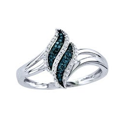 De Couer 10k White Gold 1/10ct TDW White/ Blue Diamond Ring (H-I, I2)