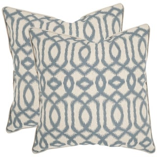 Blue Throw Pillows Overstock : Safavieh Blake 18-inch Blue/ Grey Feather Decorative Pillows (Set of 2) - Overstock Shopping ...