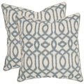 Safavieh Blake 18-inch Blue/ Grey Feather Decorative Pillows (Set of 2)