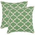 Safavieh Suzy 18-inch Green Feather Decorative Pillows (Set of 2)