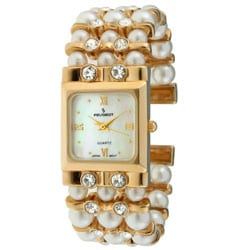 Peugeot Women's Faux Pearl Crystal Cuff Watch