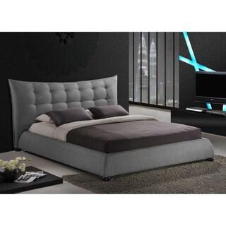 Baxton Studio Marguerite Grey Linen Modern Platform Bed