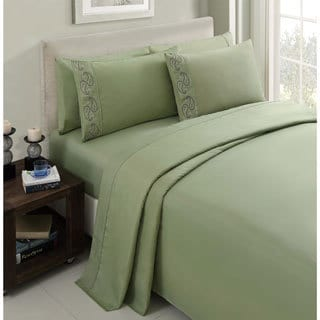 Brighton Embroidered Solid 6-piece Sheet Set
