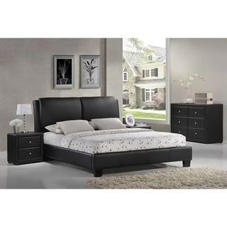 Baxton Studio Sabrina Black Full Size Bed with Overstuffed Headboard