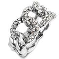 Silvertone Crystal Chain Link Stretch Ring