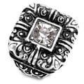 Silvertone Crystal-accented Antiqued Gothic Stretch Ring