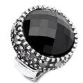 Silvertone Black Centerstone Stretch Band Cocktail Ring